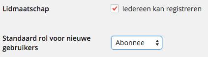 Standaard gebruikersrol WordPress