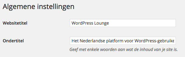 Titel en ondertitel WordPress