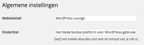 Titel en ondertitel WordPress