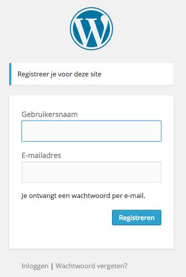 WordPress registratieformulier