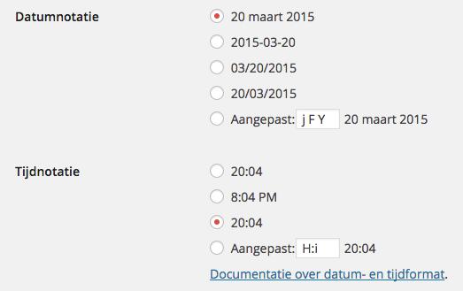 Datum en Tijd WordPress
