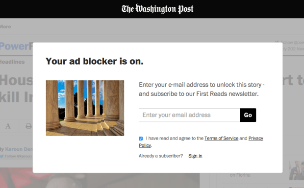 Washington Post Adblock