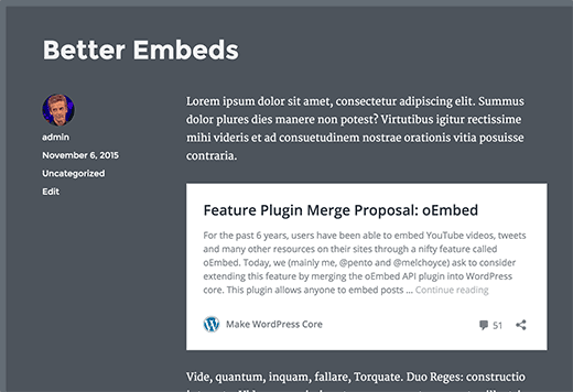 Embeds WP 4.4