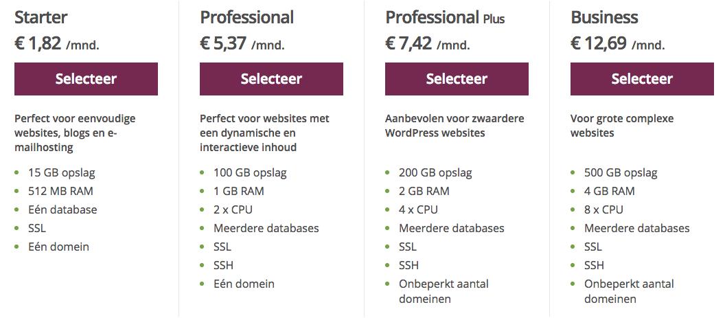 One.com webhosting pakketten