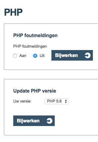 PHP versie aanpassen