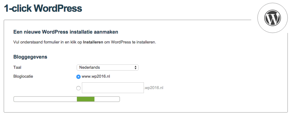 WordPress installatie One.com