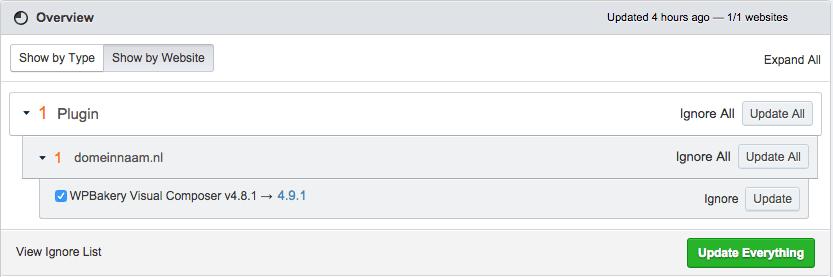 ManageWP Plugins updaten