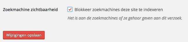 Blokkeer zoekmachines WordPress