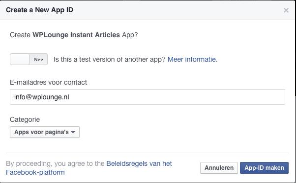Bevestig Facebook App