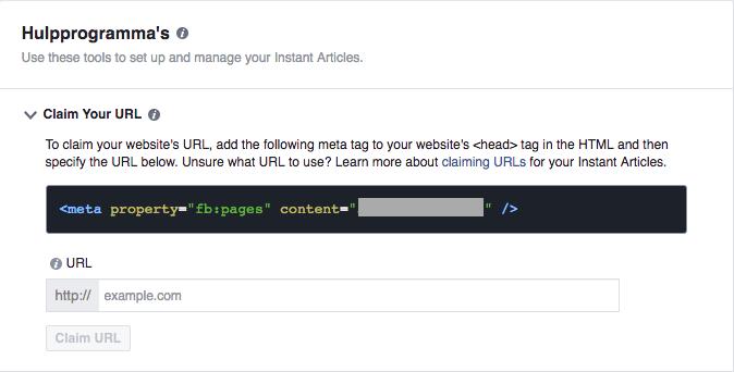 Claim URL facebook IA