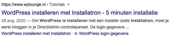 WPLounge-Installatron-Zoekresultaat-Google