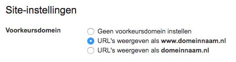 Google Webmaster Tools: site instellingen - voorkeursdomein