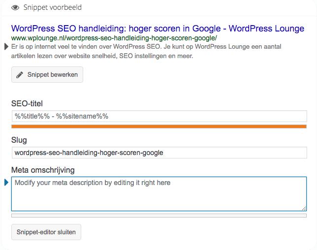 WordPress SEO by Yoast: snippet bewerken