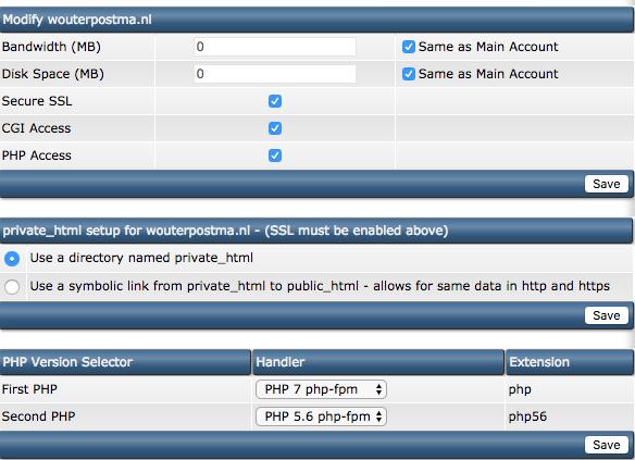 PHP versie in DirectAdmin