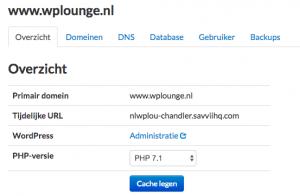 PHP versie wijzigen bij Savvii