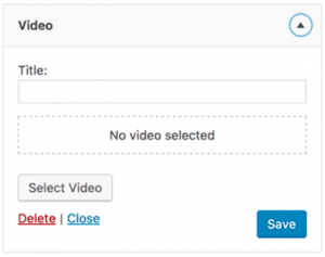 Video Widget in WordPress 4.8
