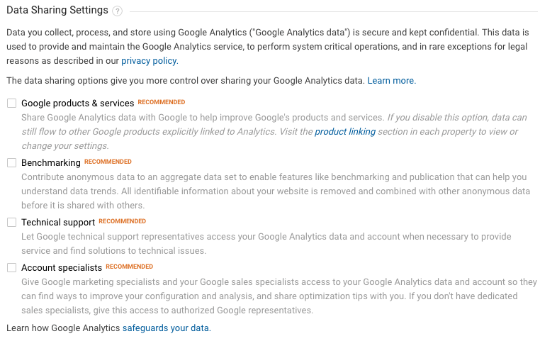 Data sharing in Google Analytics