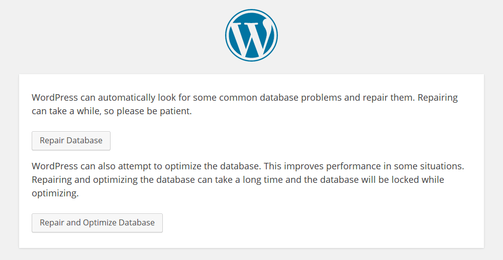 WordPress database repareren