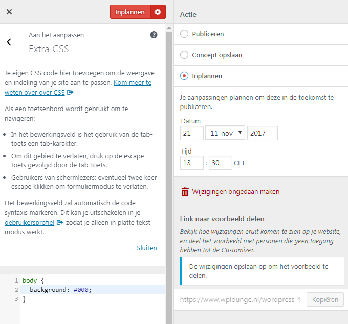 WordPress 4.9 Customizer Wijzigingen Inplannen