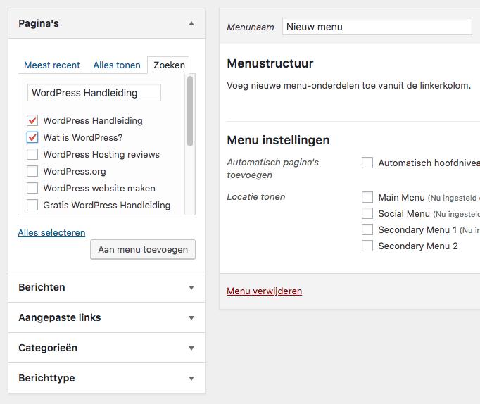 Pagina's zoeken om aan je menu toe te voegen