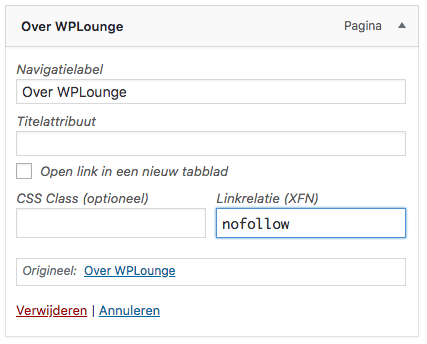 llinkrelatie WordPress menu