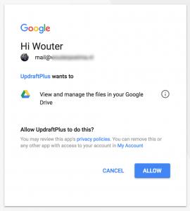 Toegang geven tot Google Drive