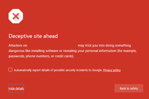 Screenshot van een waarschuwing in Google Chrome