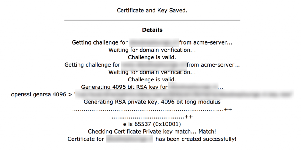 Certificate and key saved