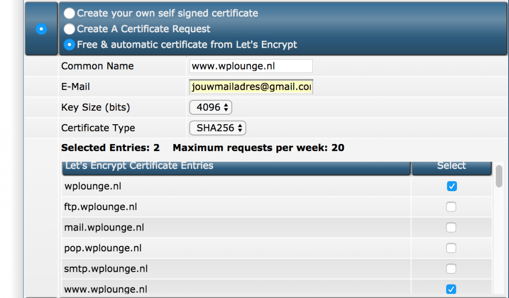 Let's Encrypt in DirectAdmin