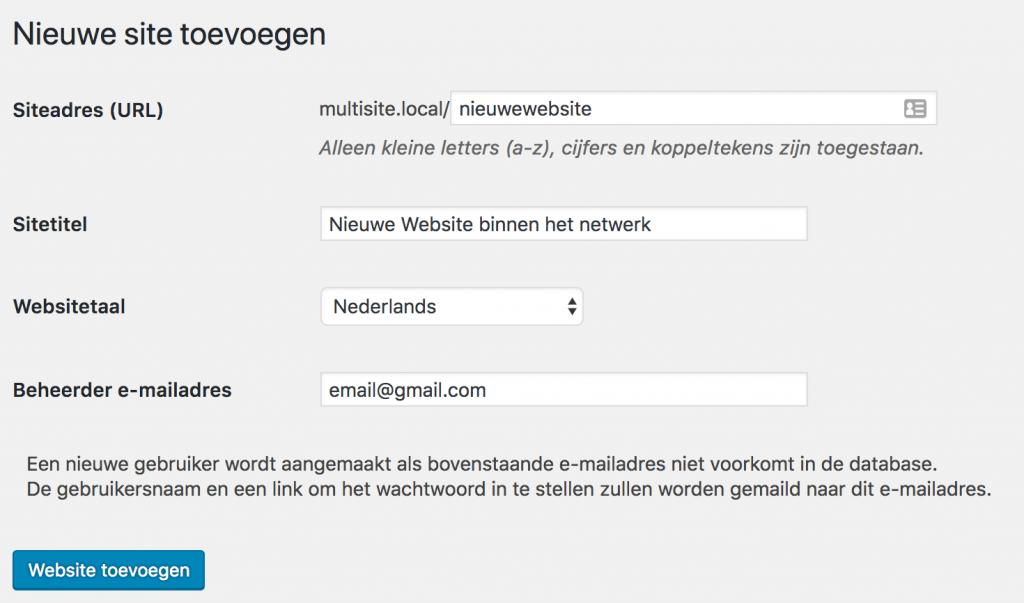 Website toevoegen binnen WordPress Multisite