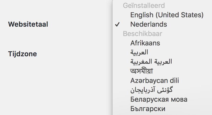 Beschikbare talen in WordPress
