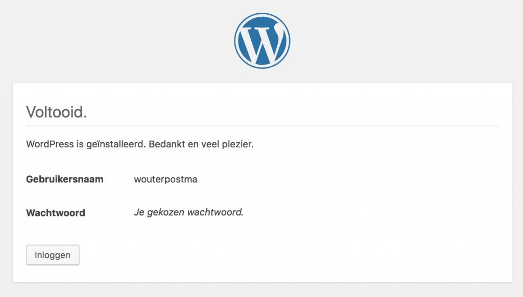 WordPress geïnstalleerd