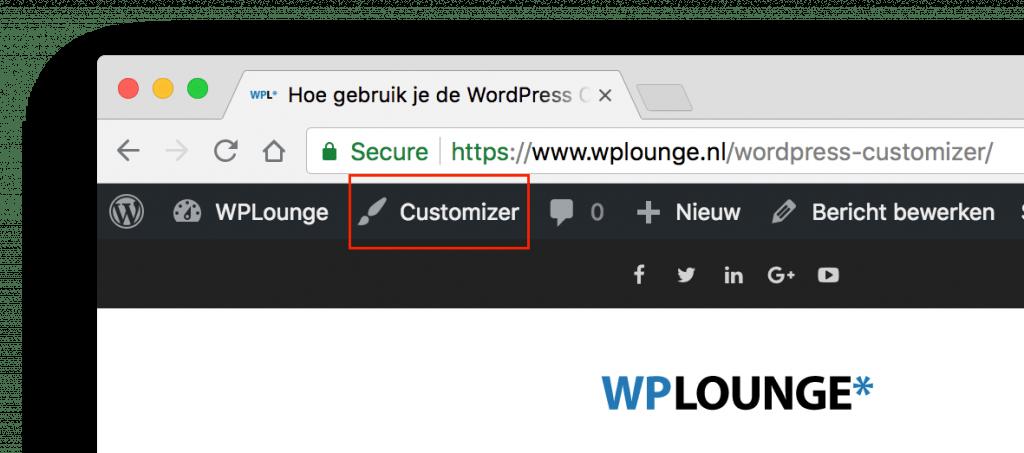 Customizer knop in WordPress toolbar