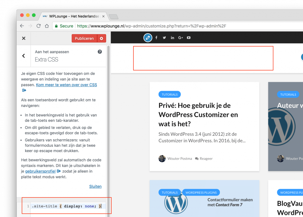 Extra CSS in de Customizer