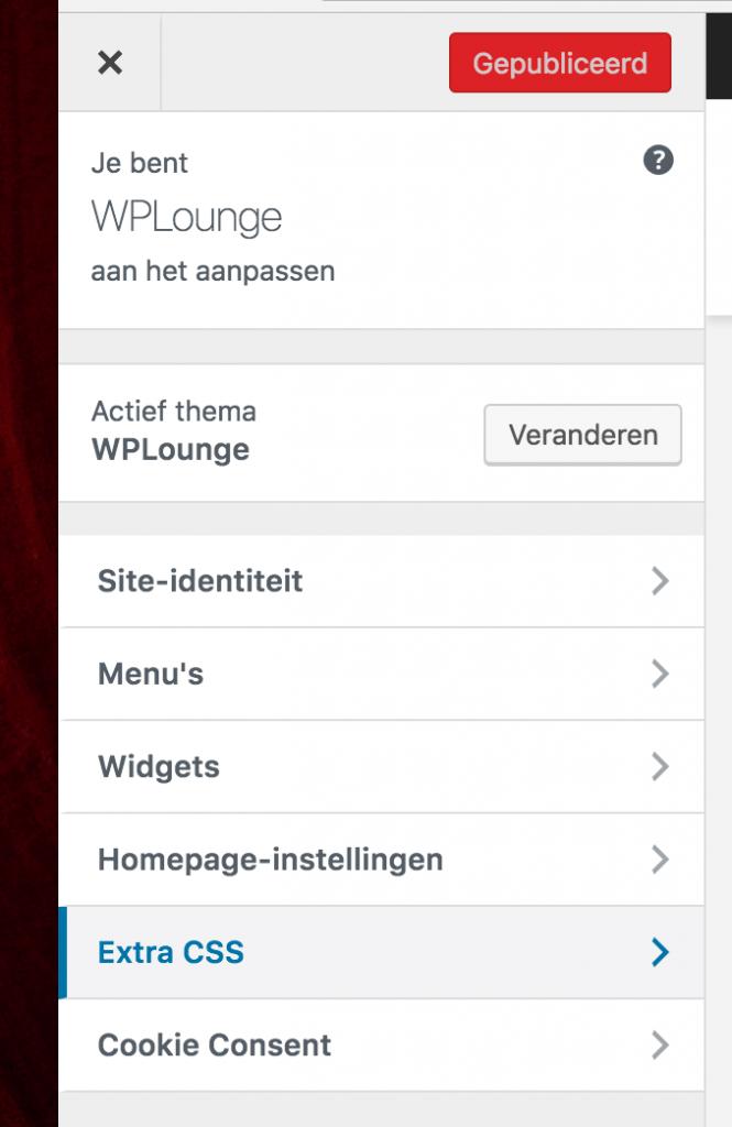 Extra CSS in de WordPress Customizer