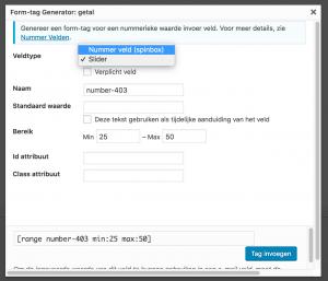 Getal veld Contact Form 7