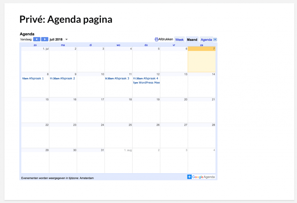 Google agenda op WordPress-pagina