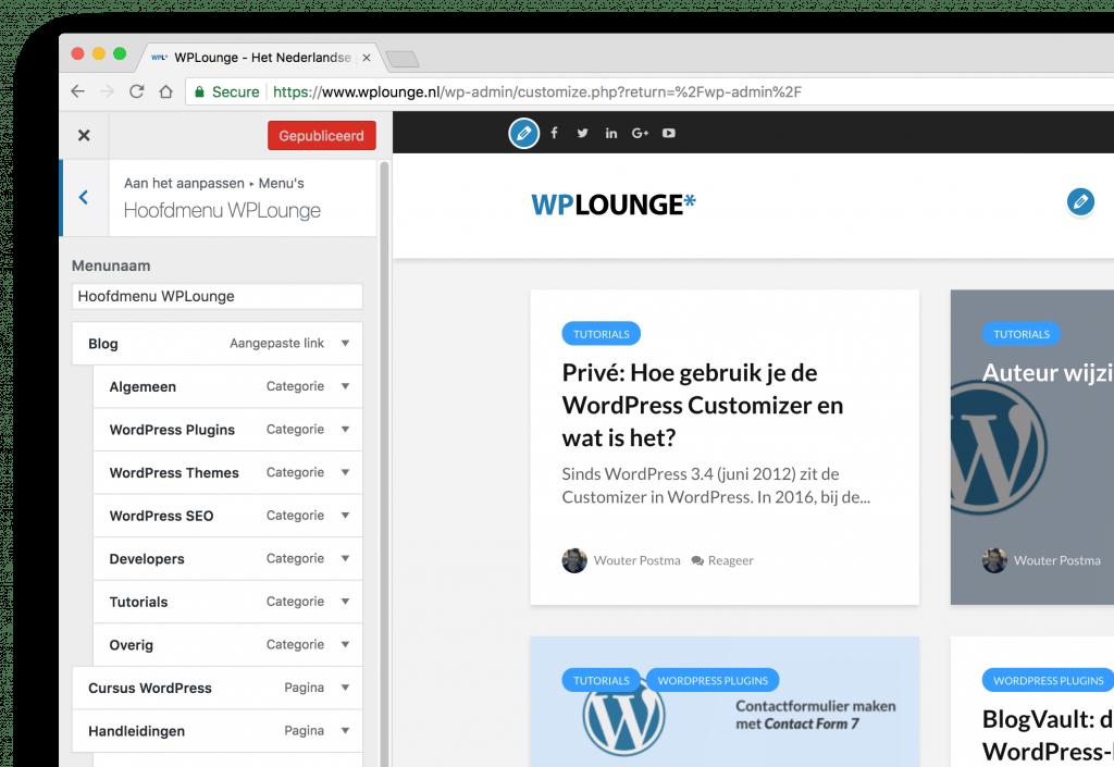 Hoofdmenu WPLounge in de WordPress Customizer