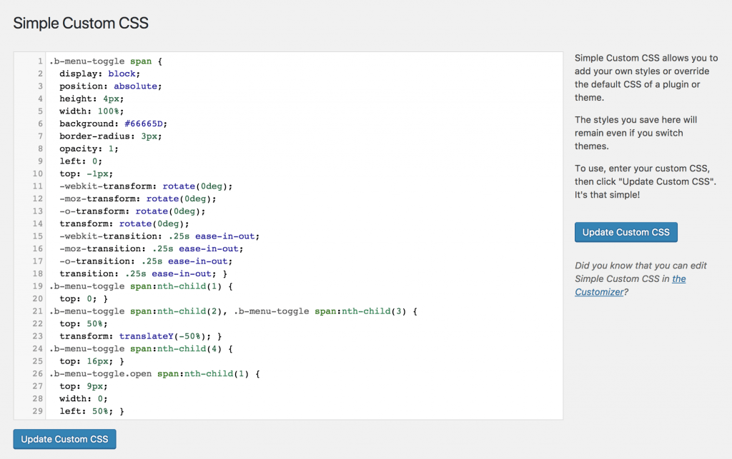 Simple Custom CSS plugin
