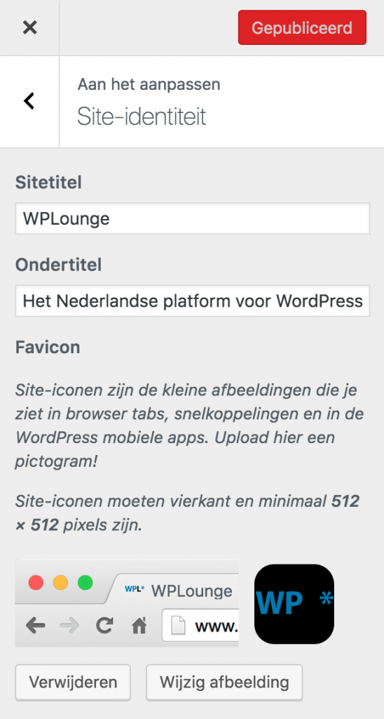 Site-identiteit in WordPress Customizer