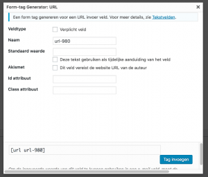 URL veld Contact Form 7