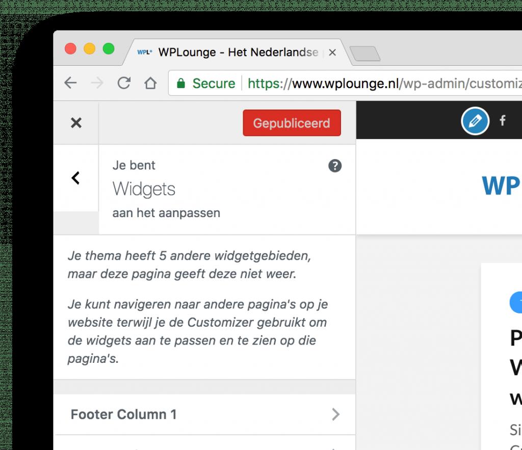 Widgets aanpassen in de Customizer