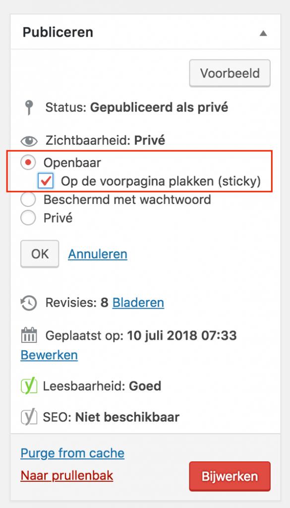 WordPress-bericht als sticky