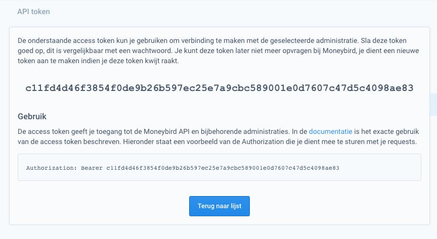 scherm in Moneybird access token, gebruiksomschrijving, code