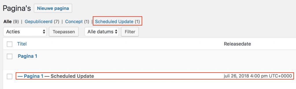 Een ingeplande wijziging in de WordPress admin