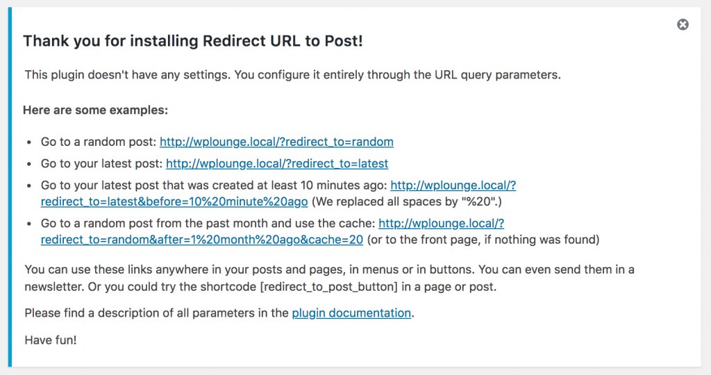 Redirect URL to Post plugin