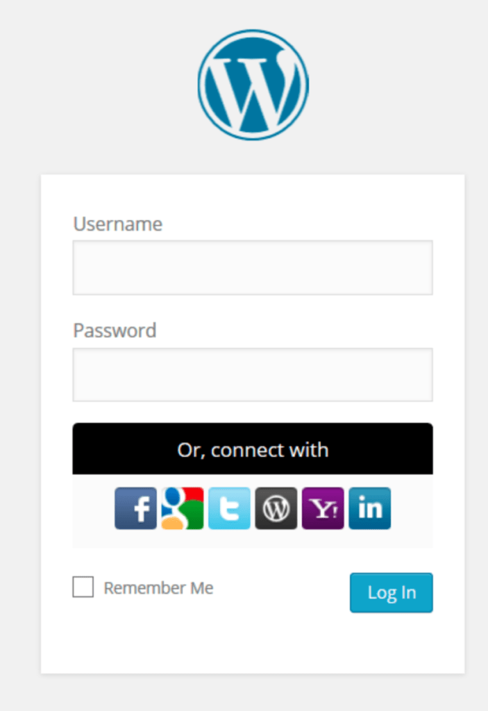 Social login buttons in WordPress