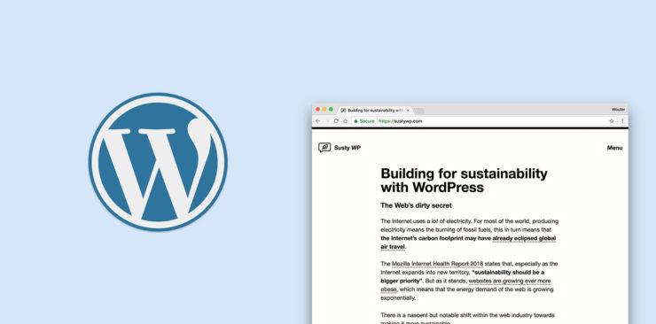 SustyWP WordPress duurzaamheid