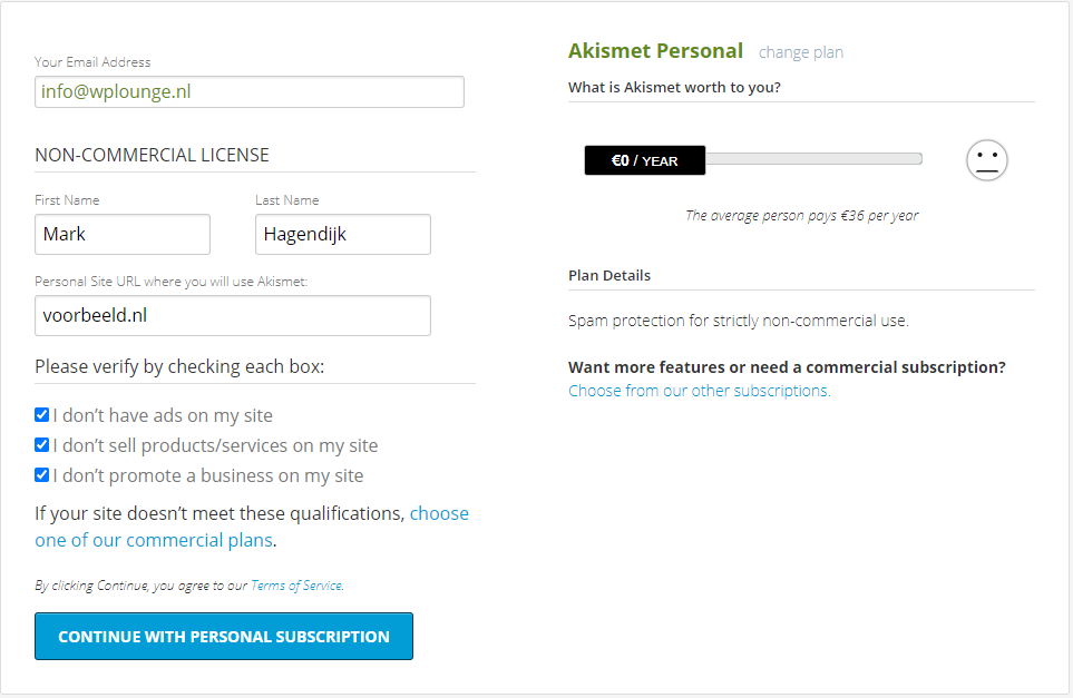 Akismet gratis licentie
