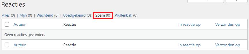 Akismet spam folder